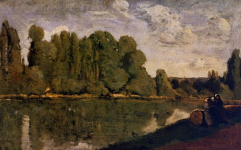 The-Rhone---Three-Women-on-the-Riverbank-Seated-on-a-Tree-Trunk---(Jean-Baptiste-Camille-Corot---circa-1850-1855)-sm
