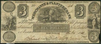 Three dollar bill issued by Merchants & Planters Bank.