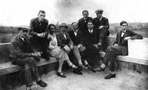 On the roof of the Bauhaus building, Dessau, 1928. From left: Josef Albers, Marcel Breuer, Gunta Stölzl, Oskar Schlemmer, Wassily Kandinsky, Walter Gropius, Herbet Bayer, Lazslo Moholoy-Nagy, Hinnerk Scheper