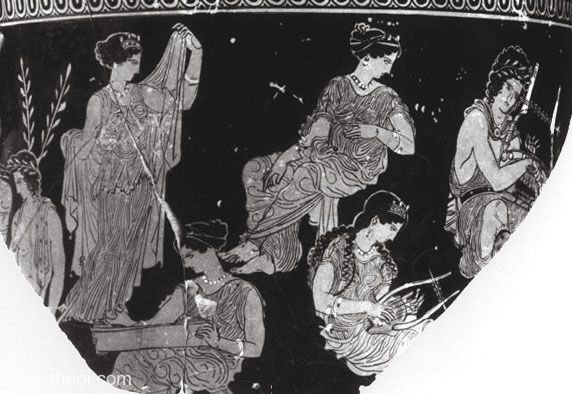 Thamyris and the Muses | Athenian red-figure vase fragment C4th B.C. | National Archaeological Museum, Athens