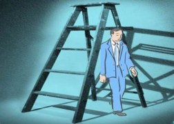 Man walking under a ladder