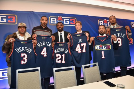 NEW YORK, NY - JANUARY 11: (L-R) Allen Iverson, Kenyon Martin; Roger Mason Jr., Jeff Kwatinetz, Ice Cube, and Rashard Lewis attend a press conference announcing the launch of the BIG3, a new, professional 3-on-3 basketball league, on January 11, 2017 in New York City. (Photo by Michael Loccisano/Getty Images for BIG3)