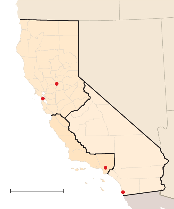 California - three sections