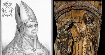 Pope Sylvester II, left, and Constantine VII, right