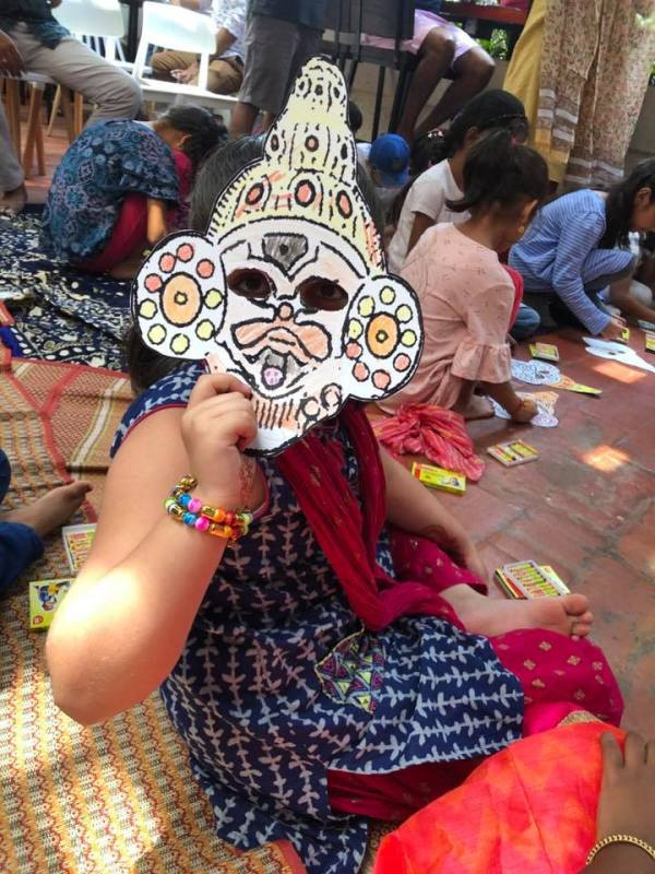 Yaksha mask for kids with childrens book Bookosmia