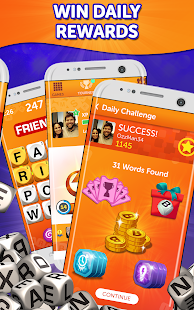 A screencap of an ad for the Boggle with Friends game, showing that you can win in-game rewards while playing