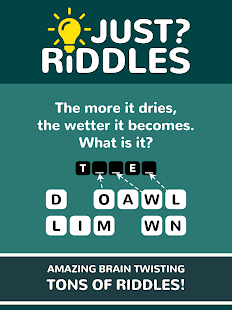 A screencap of an ad for the word game Just Riddles showing the board
