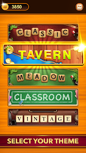 A screencap of an ad for the word game Word Connect showing various themes