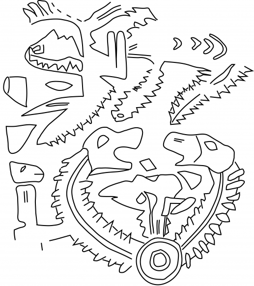 Fig.22–Drawing of fragmentary ancient impression of a cylinder seal.