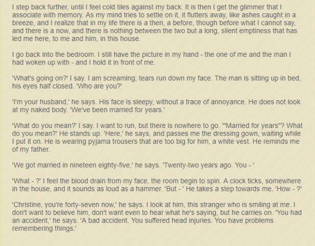 Excerpt about Christine from 'Before I Go to Sleep' by S.J. Watson