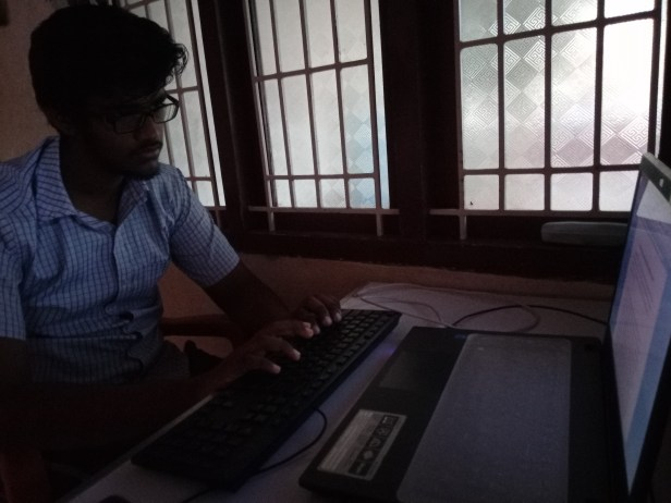 Bala working on one of his blog articles