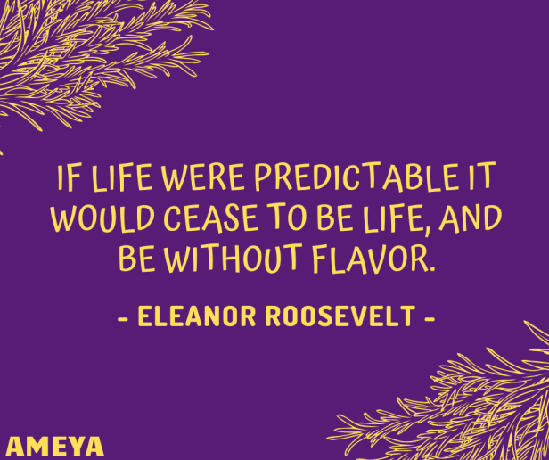 If life were predictable it would cease to be life, and be without flavor. – Eleanor Roosevelt