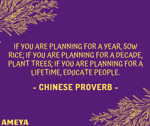 If you are planning for a year, sow rice; if you are planning for a decade, plant trees; if you are planning for a lifetime, educate people. – Chinese proverb