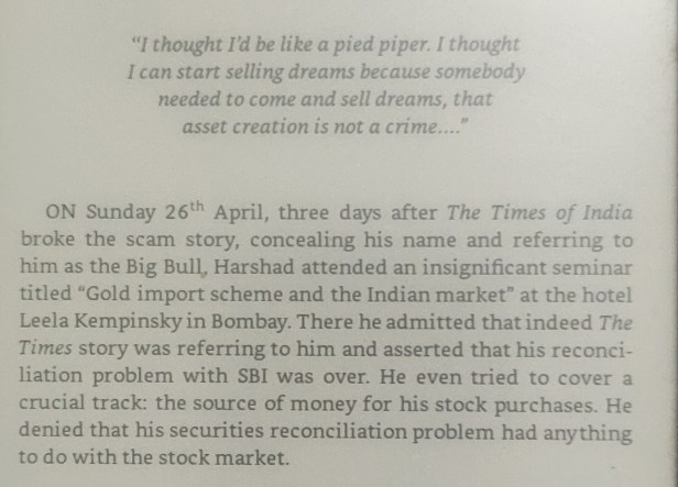 An excerpt about the Harshad Mehta incident from the book The Scam