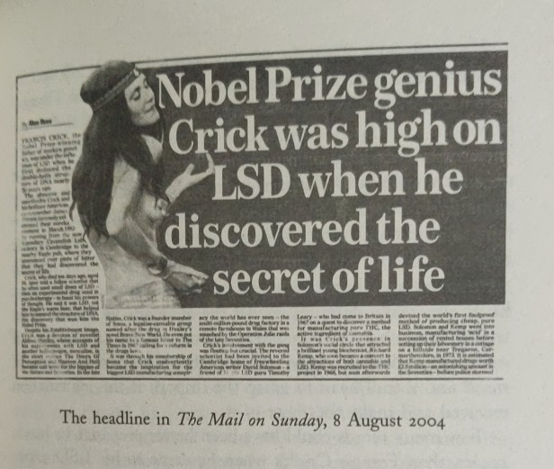 An excerpt from Graham Bruce Hancock's Supernatural about the Nobel Prize winner Crick being high on LSD