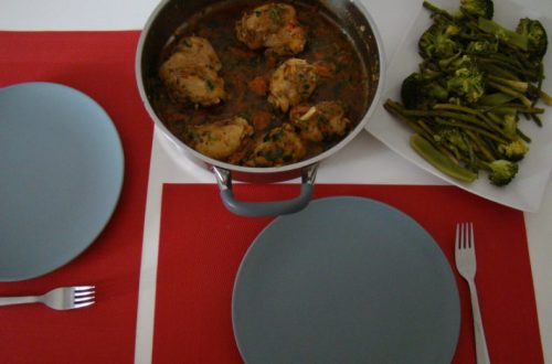 Chicken Stew with Steamed Greens