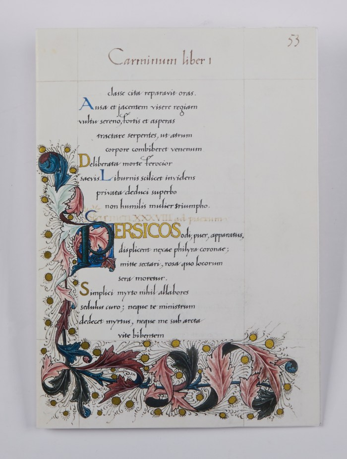 William Morris's Manuscript of the Odes of Horace, The Folio Society, Sample Illuminated Page #2