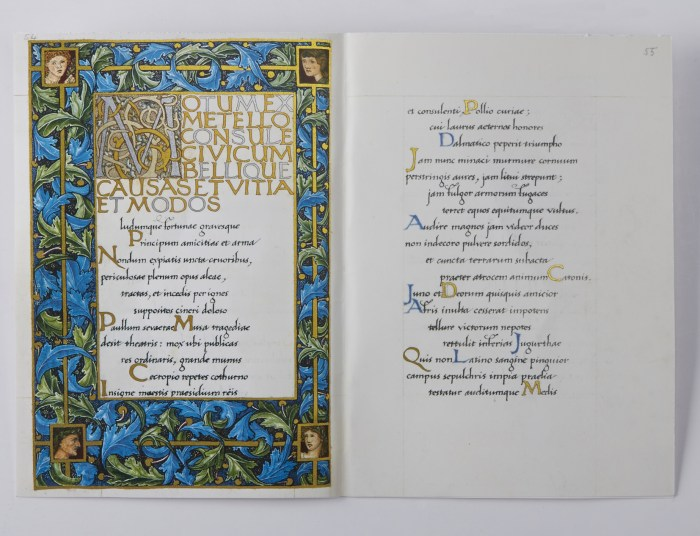 William Morris's Manuscript of the Odes of Horace, The Folio Society, Sample Illuminated Page #1