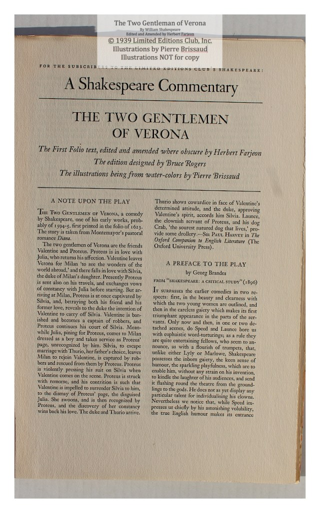 The Two Gentleman of Verona, Limited Editions Club, Prospectus