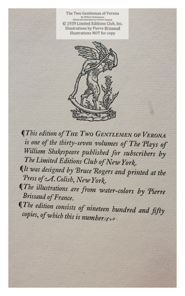 The Two Gentleman of Verona, Limited Editions Club, Colophon
