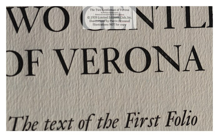 The Two Gentleman of Verona, Limited Editions Club, Macro of Title Page 1