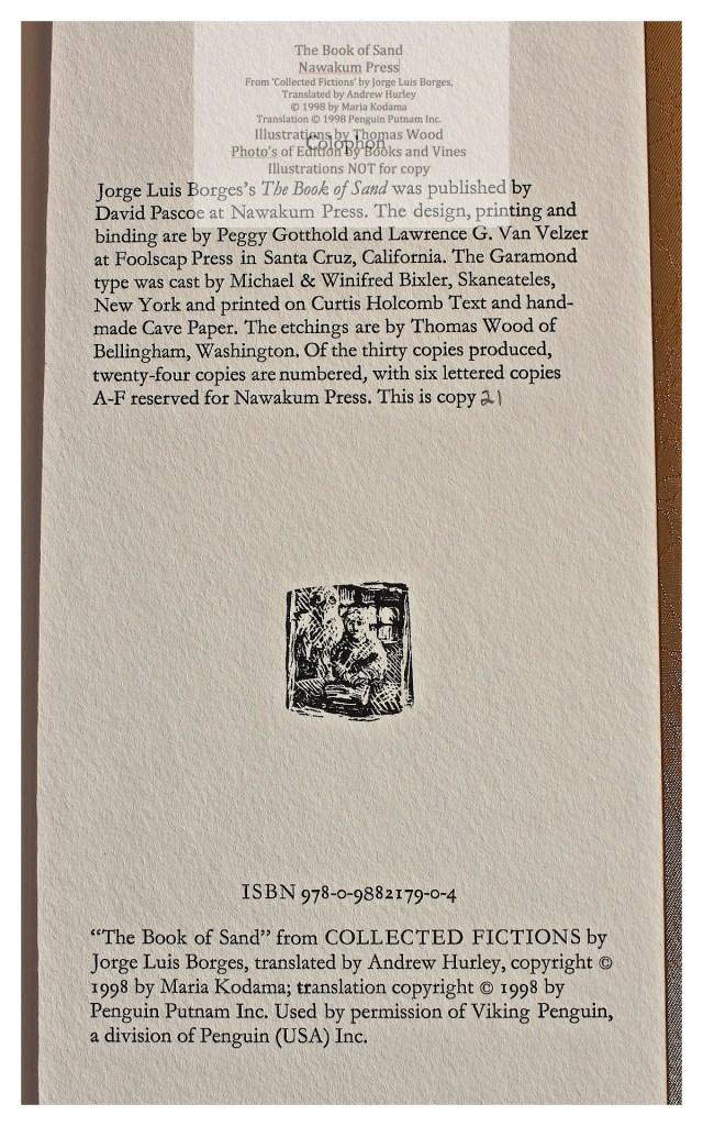 The Book of Sand, Nawakum Press, Colophon