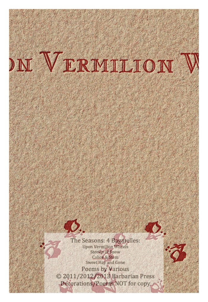 The Seasons: Four Bagatelles, Upon Vermilion Wheels: Poems for Autumn, Macro of Cover, Barbarian Press