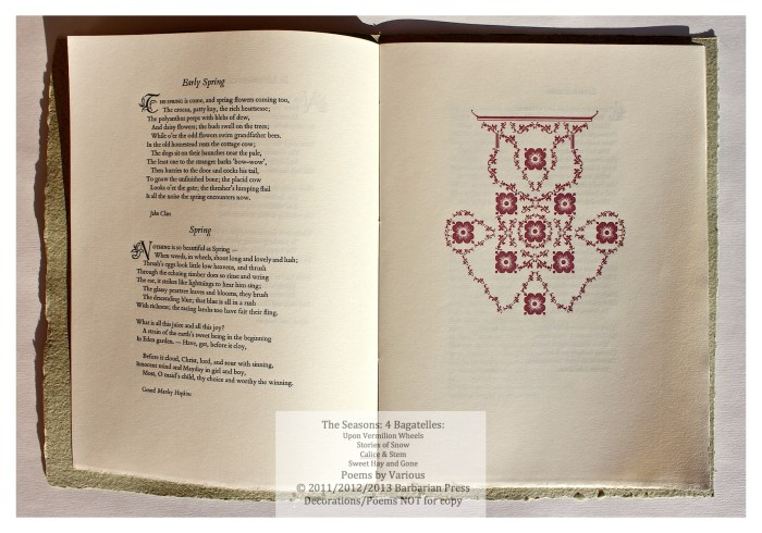 The Seasons: Four Bagatelles, Calice & Stem: Poems for Spring, Sample Page with Text and Decoration #1, Barbarian Press