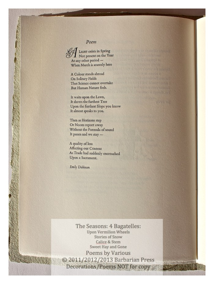 The Seasons: Four Bagatelles, Calice & Stem: Poems for Spring, Sample Page with Text and Decoration #2, Barbarian Press