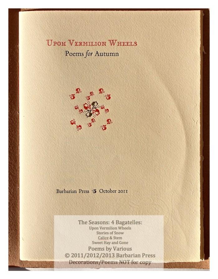 The Seasons: Four Bagatelles, Upon Vermilion Wheels: Title Page, Barbarian Press