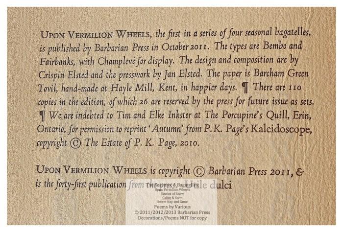 The Seasons: Four Bagatelles, Upon Vermilion Wheels: Poems for Autumn, Colophon, Barbarian Press
