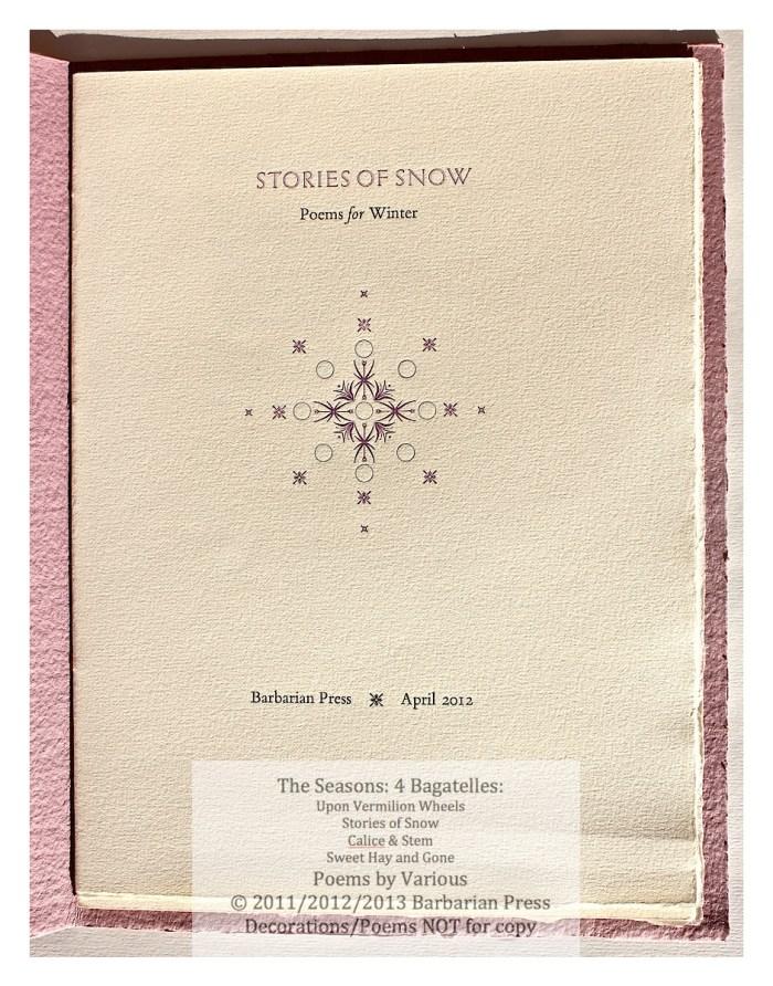 The Seasons: Four Bagatelles,  Barbarian Press