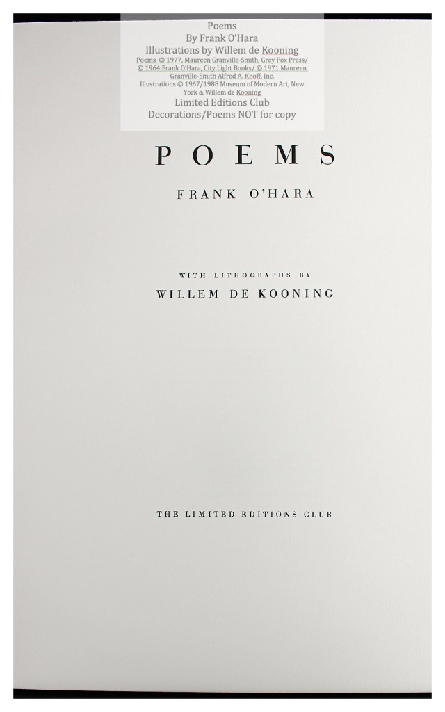 Poems of Frank O'Hara, Title Page, Limited Editions Club