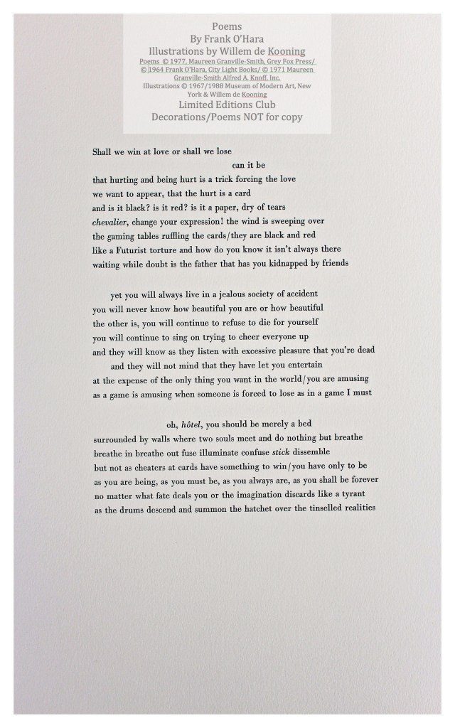 Poems of Frank O'Hara, Sample Text Page, Limited Editions Club