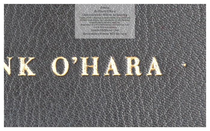 Poems of Frank O'Hara, Macro of Front Cover, Limited Editions Club