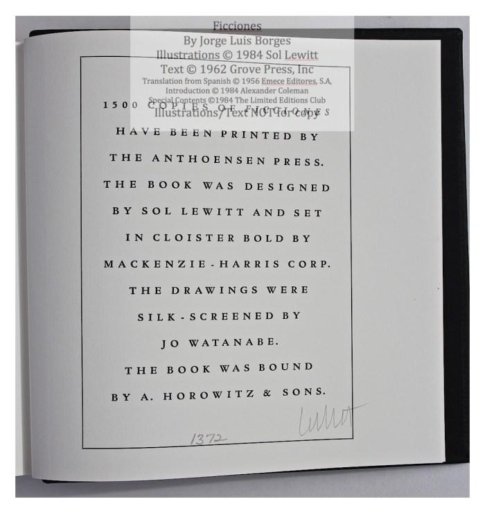 Ficciones, Limited Editions Club, Colophon