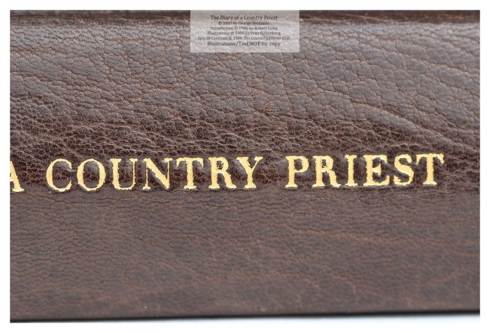 The Dairy of a Country Priest, Limited Editions Club, Macro of Spine