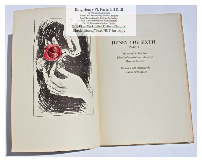 King Henry VI, Part I, Limited Editions Club, Title Page and Frontispiece
