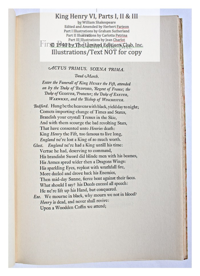 King Henry VI, Part I, Limited Editions Club, Sample Text 1