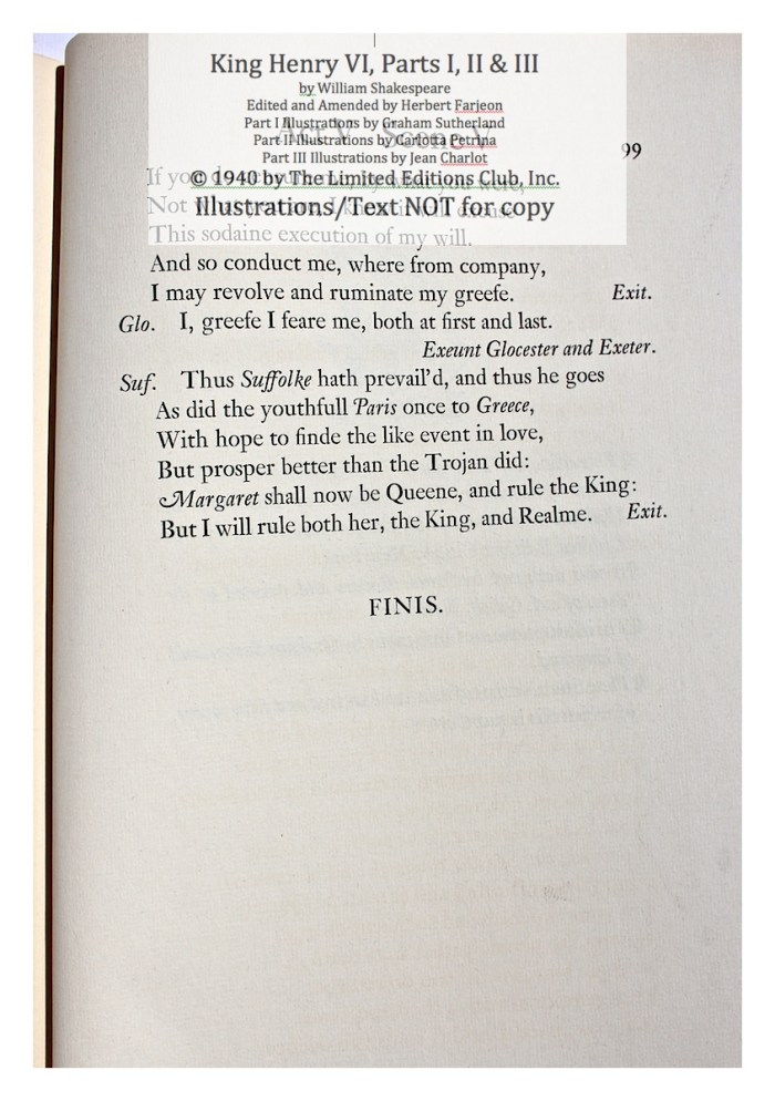 King Henry VI, Part I, Limited Editions Club, Sample Text 2