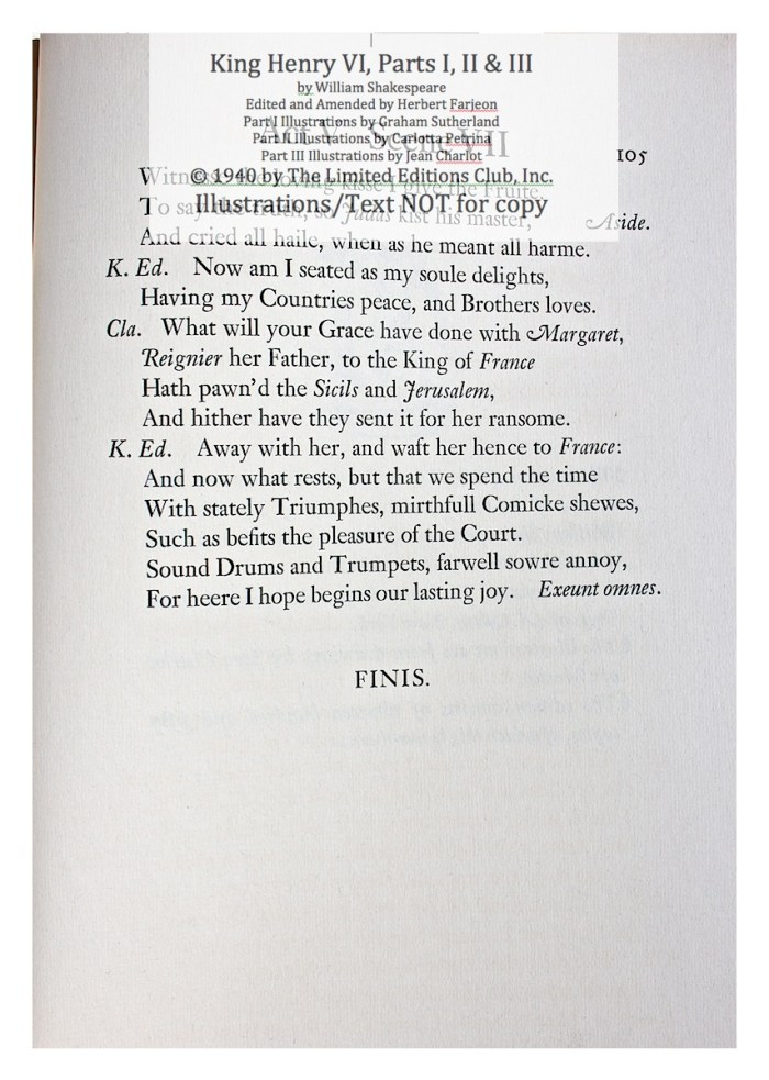 King Henry VI, Part III, Limited Editions Club, Sample Text 2
