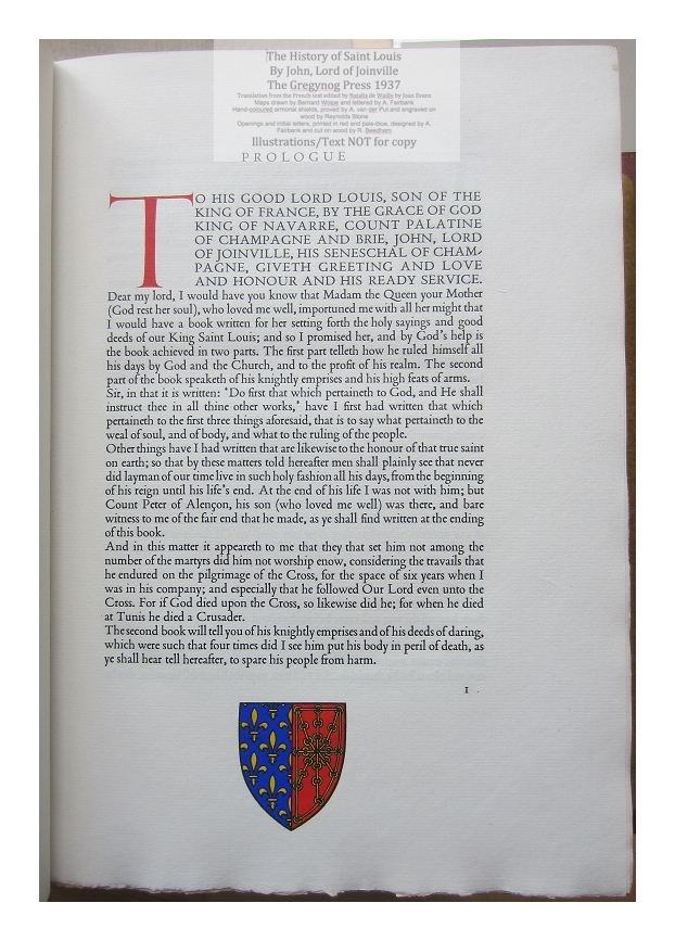 The History of Saint Louis, The Gregynog Press, Sample Text and Decoration #1 - Prologue