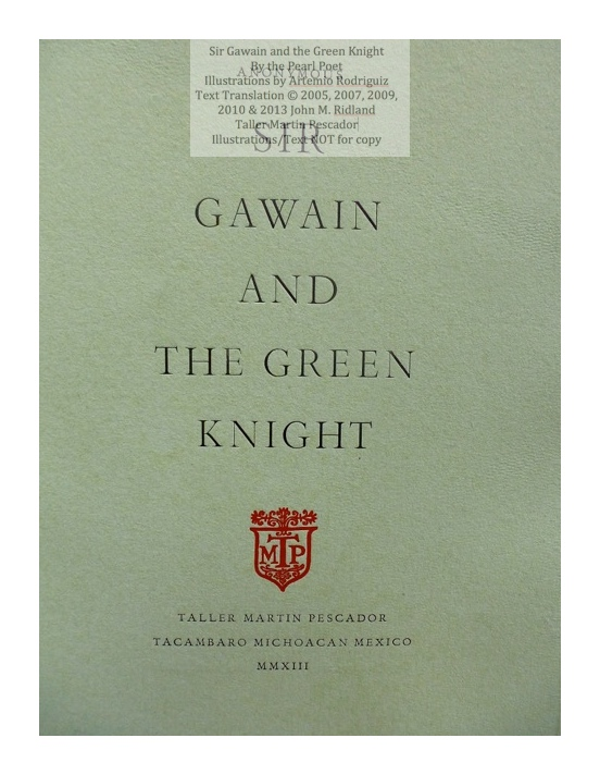 Sir Gawain and the Green Knight, Taller Martin Pescador, Title Page