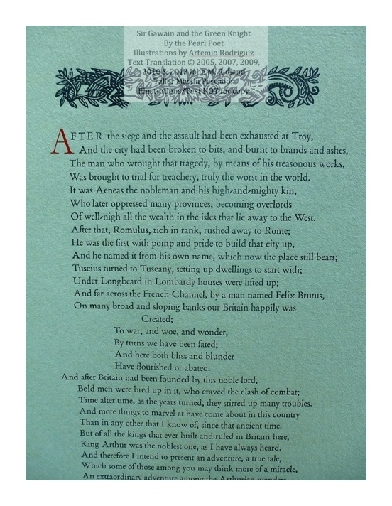 Sir Gawain and the Green Knight, Taller Martin Pescador, Sample Text with Decoration #1