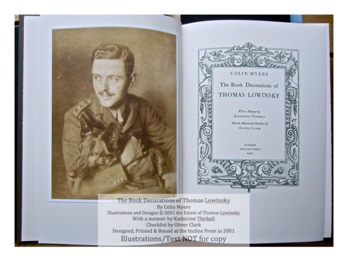 The Book Decorations of Thomas Lowinsky, Incline Press, Frontispiece and Title Page