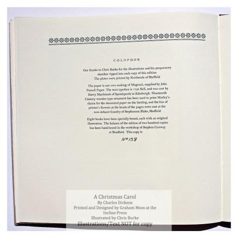 A Christmas Carol, Incline Press, Colophon