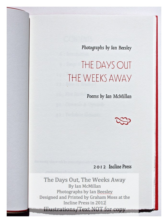 The Days Out, The Weeks Away, Incline Press, Title Page