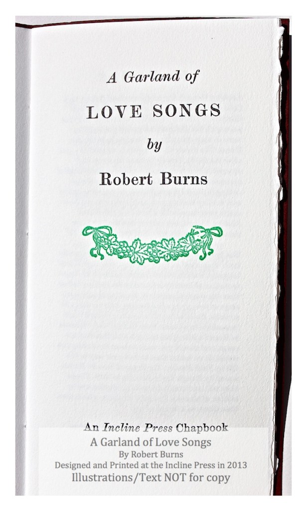 A Garland of Love Songs, Incline Press, Title Page