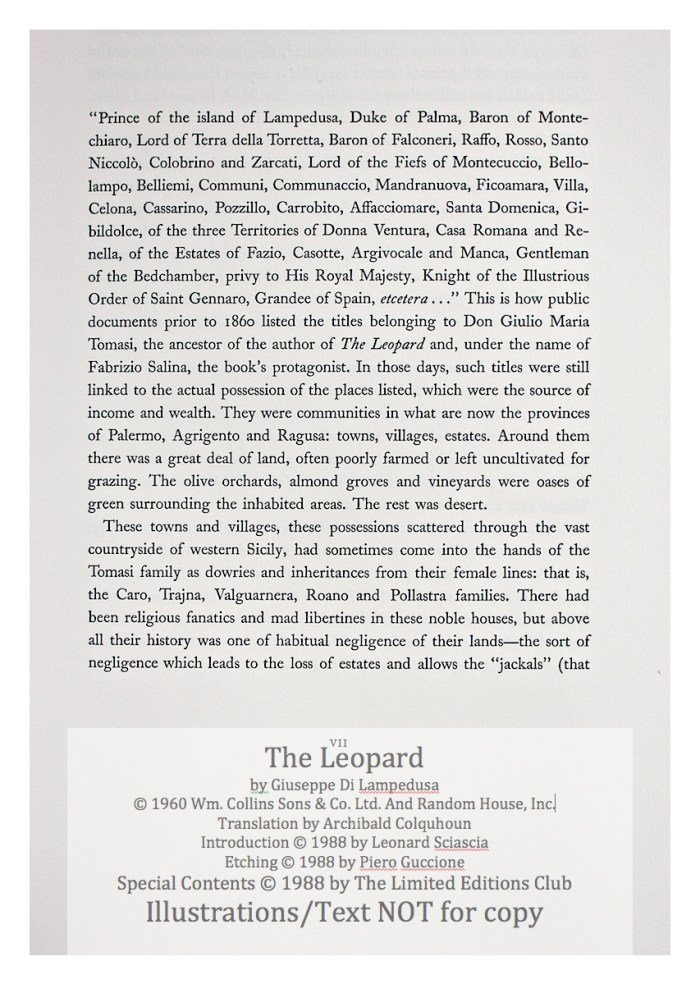 The Leopard, Limited Editions Club, Sample Text #1