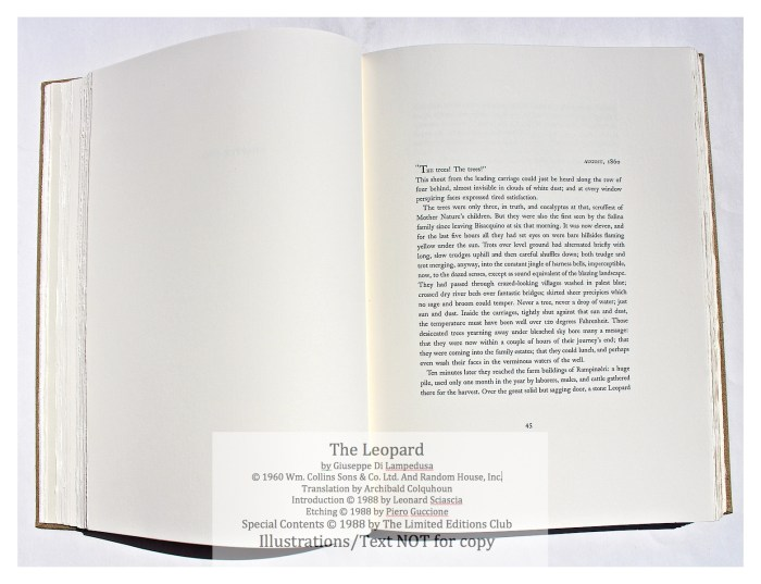 The Leopard, Limited Editions Club, Sample Text #3